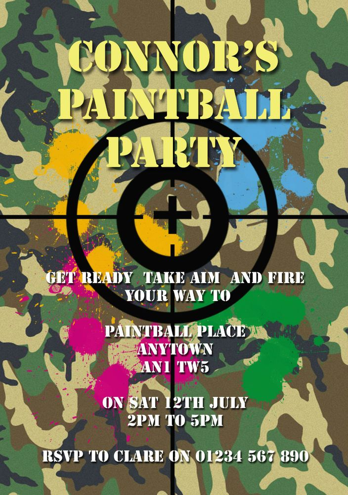 10 personalised paintball party invitations
