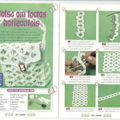 Bolso realizado con anillas de lata, hilo y ganchillo.Subido de la red en facebook