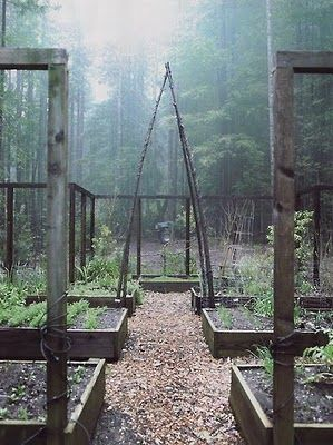 Grow beans, peas or cucumbers (squash?) on the TeePee over pathway and still have essential garden area for other plants! Great idea!!!