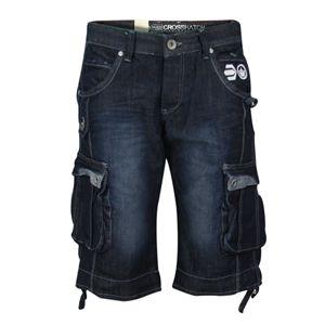 Crosshatch Mens Cargo Combat Designer New Player Style Soft Denim Shorts (Denim Dark Wash)