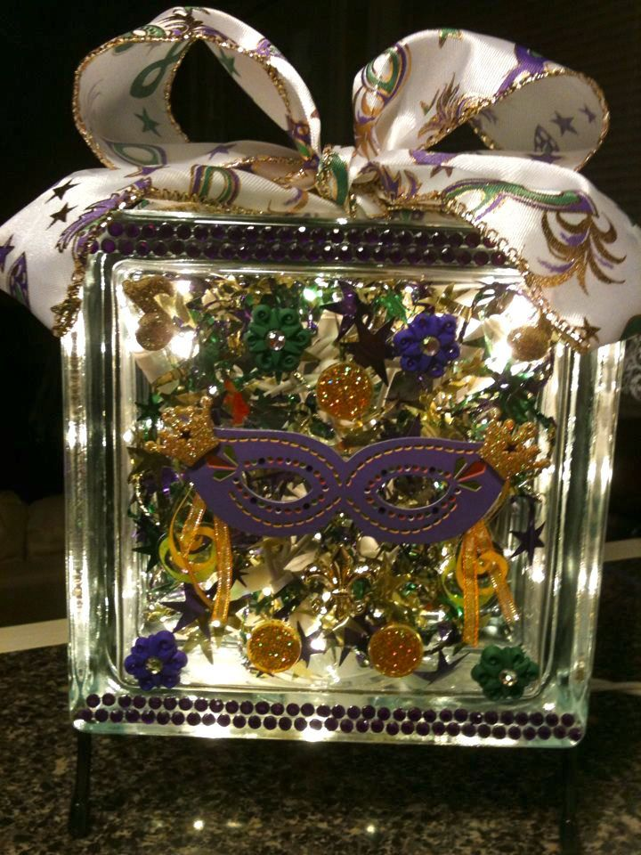 Purple Mardi Gras Mask   Lighted Glass Block Supplies From Hobby Lobby    Glass Block And Stand From Crafts, Mask From Scrapbooking, Rhinestone Trim  From ...