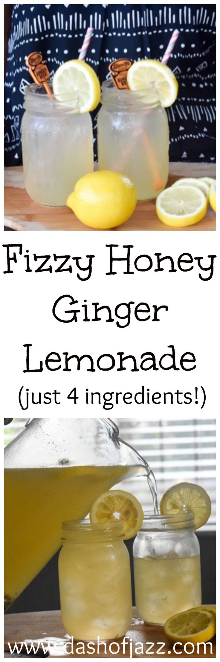 All-natural, 4-ingredient fizzy honey ginger lemonade is your new favorite easy summer drink! Dash of Jazz
