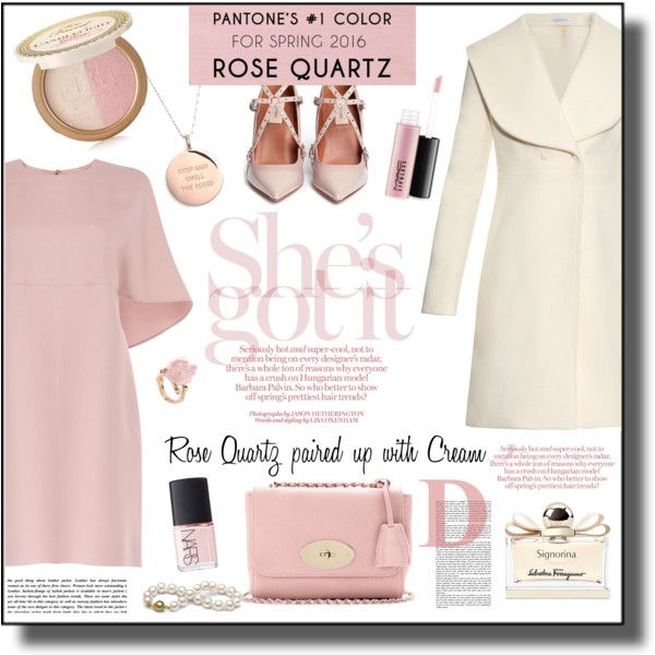 Valentino Rose Quartz Dress Outfit - Pantone Color 2016 by helenehrenhofer on Polyvore featuring Valentino, J.W. Anderson, Kate Spade, Too Faced Cosmetics, MAC Cosmetics, Salvatore Ferragamo, NARS Cosmetics, women's clothing, women's fashion and women