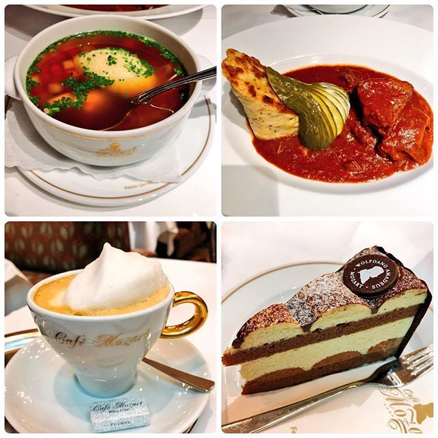 ウィーンのモーツァルトカフェ💖 #ウィーン#Wien#vienna#cafe#メランジェ#モーツァルト#トルテ#グラーシュ#ワイン煮込み#スープ#soup#teatime#lunch#カフェ#カフェ巡り#Austria#オーストリア#肉#ボリューム#量多い#おいしかった#旅#trip#一人旅#楽しかった#かわいい#cute