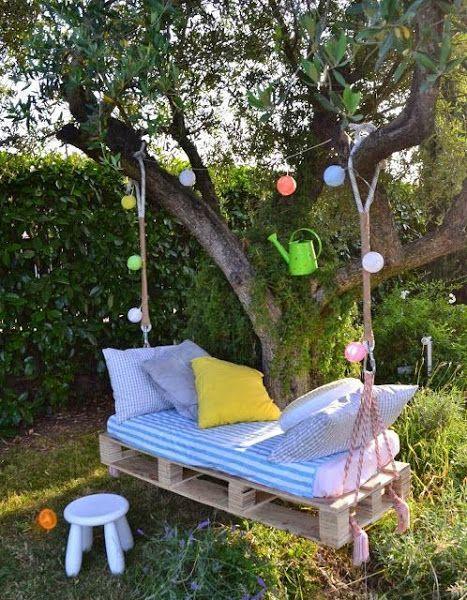 Columpio con palets para el jardín paso a paso | Cuidar de tus plantas es facilisimo.com