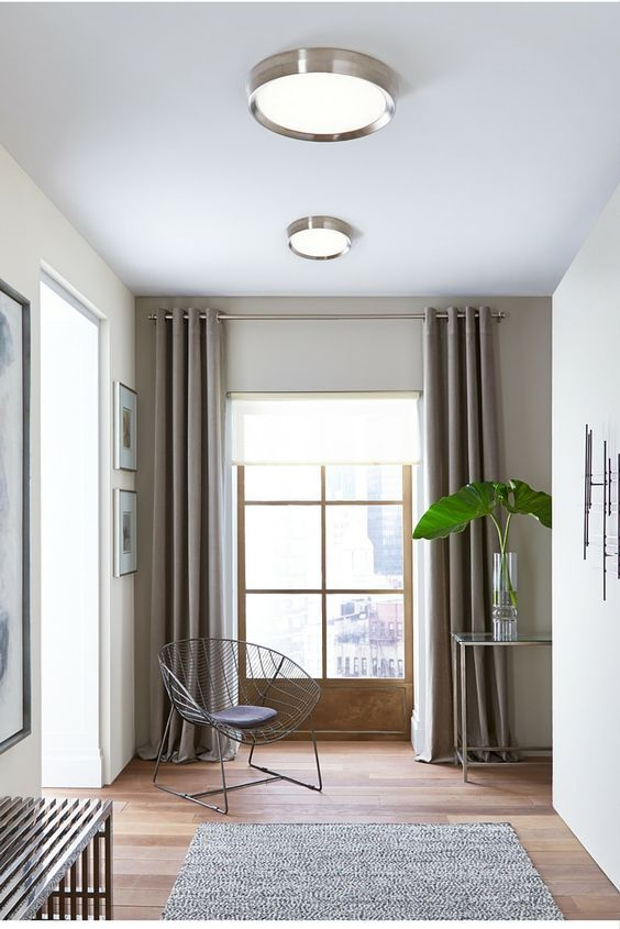 Sophisticated yet simple, the Bespin flush mount ceiling light from Tech Lighting features a smoothly diffused LED light housed within a thin angular metal body in a small or large size. May be wall or ceiling mounted. ADA compliant.