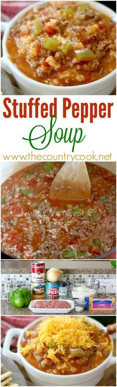 Stuffed Pepper Soup recipe from The Country Cook. Full of rice, ground beef, green peppers all in a delicious soup form!