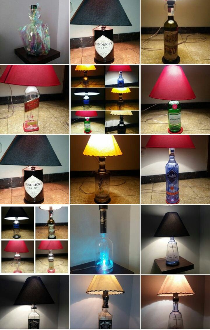 Lámparas en botellas de licor