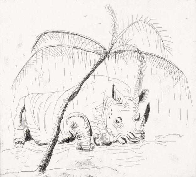 John Kørner • Sovende næsehorn • 2014 001-1 / 200x215mm