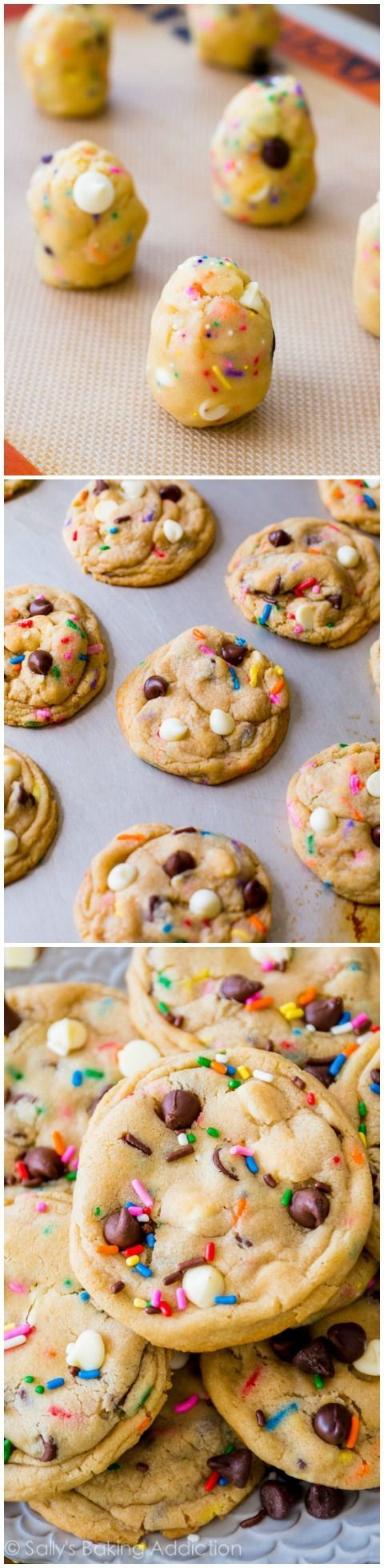 THE Cake Batter Chocolate Chip Cookie recipe on sallysbakingaddic... One of the most popular recipes!