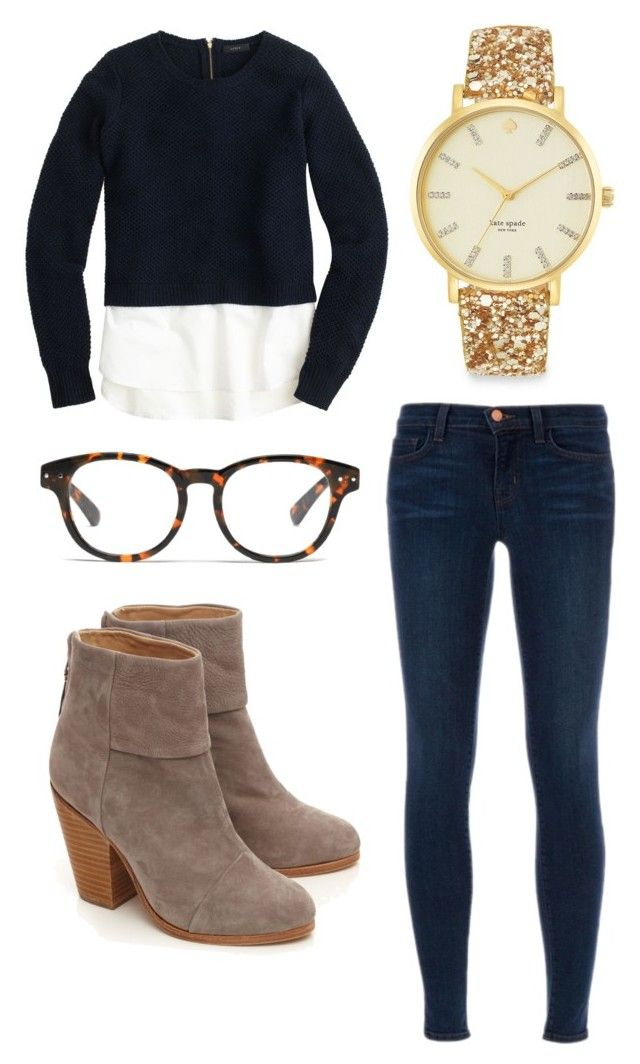 """""""Preppy, preppy and more preppy!!"""" by preppy29 ❤ liked on Polyvore featuring J.Crew, rag & bone, Kate Spade, J Brand and Madewell"""