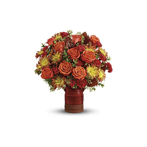 Teleflora's Heirloom Crock Bouquet ($55) ❤ liked on Polyvore featuring chrysanthemum bouquet, bronze home decor, daisy bouquet, rose bouquet and rose home decor