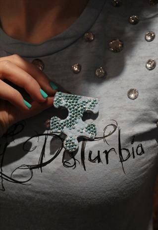 Pretty Disturbia Blue Diamante handmade Puzzle Brooch  from Pretty Disturbia £3