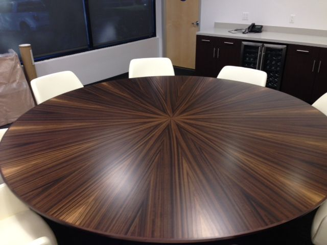 Sunburst Fumed Eucalyptus round conference table
