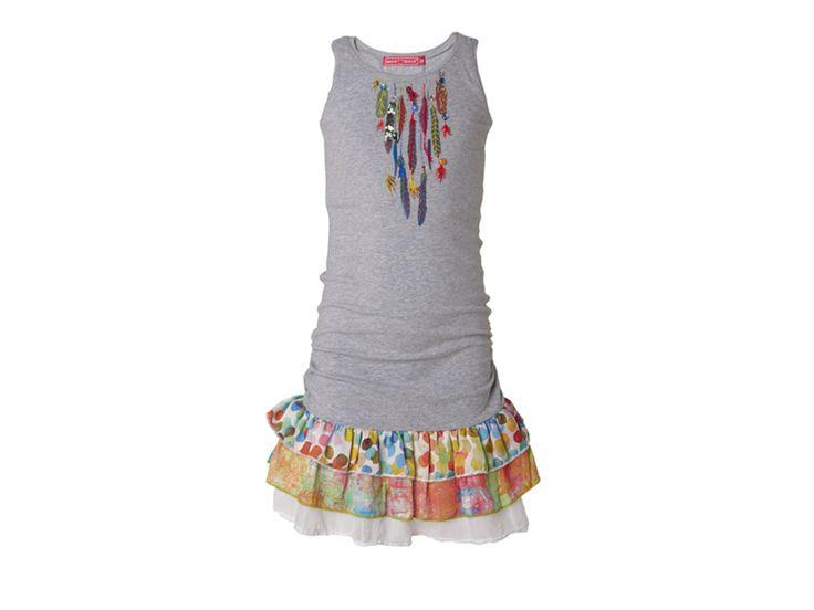Muy Malo Tricot jurk met veren bij Ko&Flo 41-28218-gray
