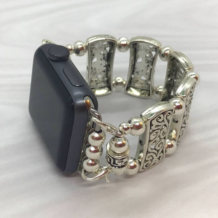All Silver - Apple Watch Band 42 Apple iWatch Band Stretch Apple Band Beaded Watch Band Bracelet Apple Band Tech Jewelry