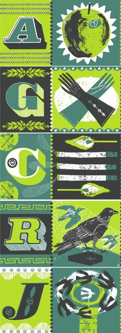 Alice Patullo's retro alphabet via printandpattern