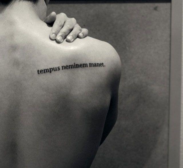 "Expressions on body: 20 inspiring latin quote tattoos - Blog of Francesco Mugnai  ""Time waits for no one."""