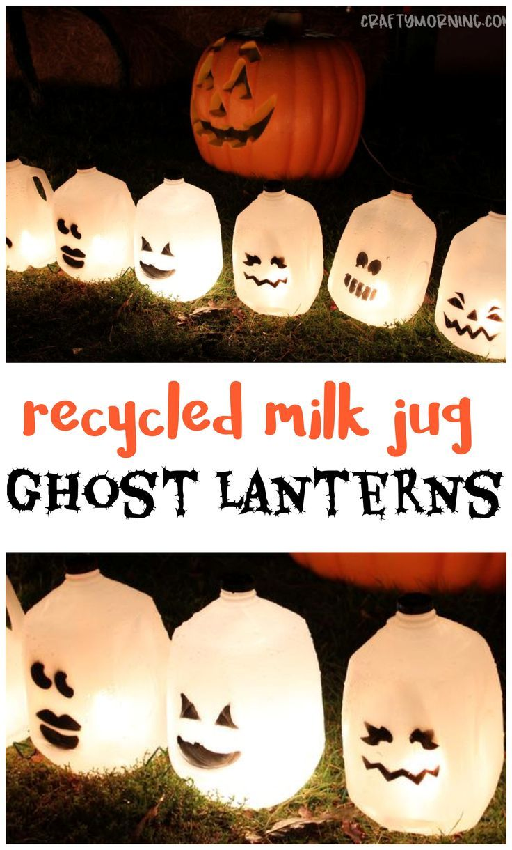 Recycled Milk Jug Ghost Lanterns A Fun Halloween Craft For Kids To