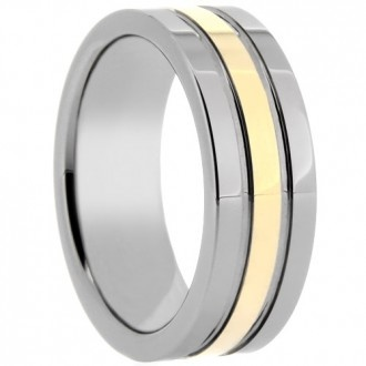 Wholesale Tungsten Ring. Style # WRTG0170. This unique tungsten band features a mirror finish and gold overlay.