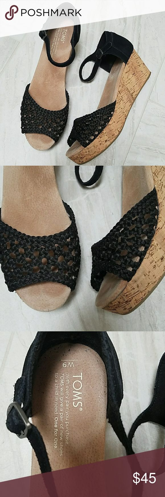 TOMS black wedges Reduced price  Super cute Toms wedges in like new condition. Size 9 toms Shoes