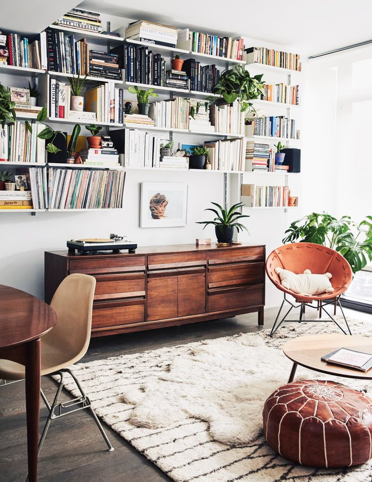 midcentury credenza in living room