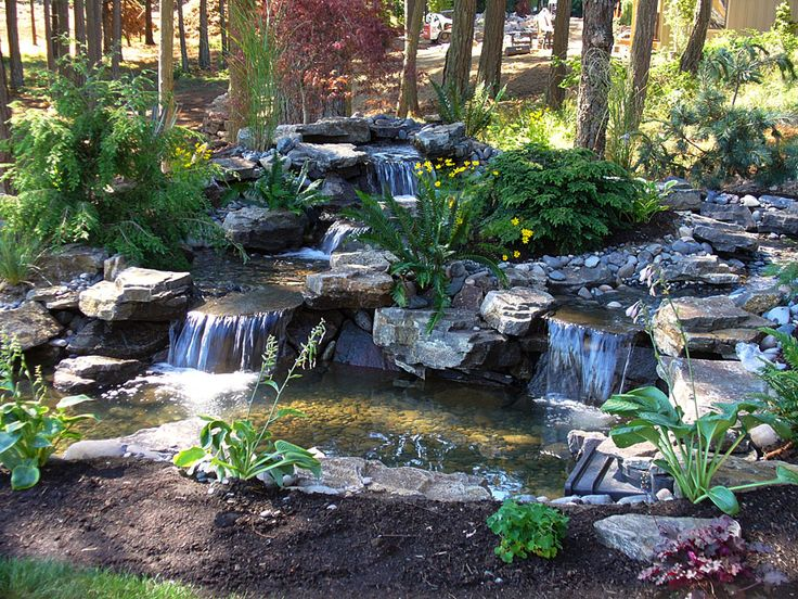 Serene Waterfall: This natural water feature was featured in the backyard of a Street of Dreams home in 2007. The natural setting of ferns and fir trees on an existing hillside added to it's realistic appearance.