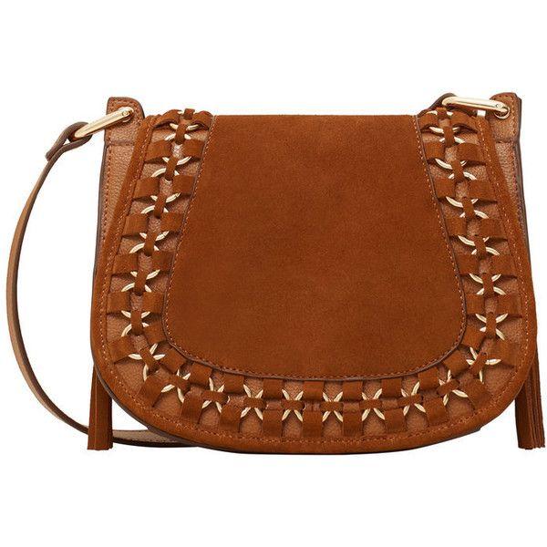 MANGO Appliqué Leather Bag (265 CNY) ❤ liked on Polyvore featuring bags, handbags, leather handbags, genuine leather purse, tassel purse, metallic leather handbags and mango handbags