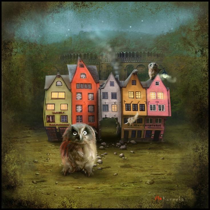 'Owl the Battering Ram' ; mixed media illustration www.matyldakonecka.com