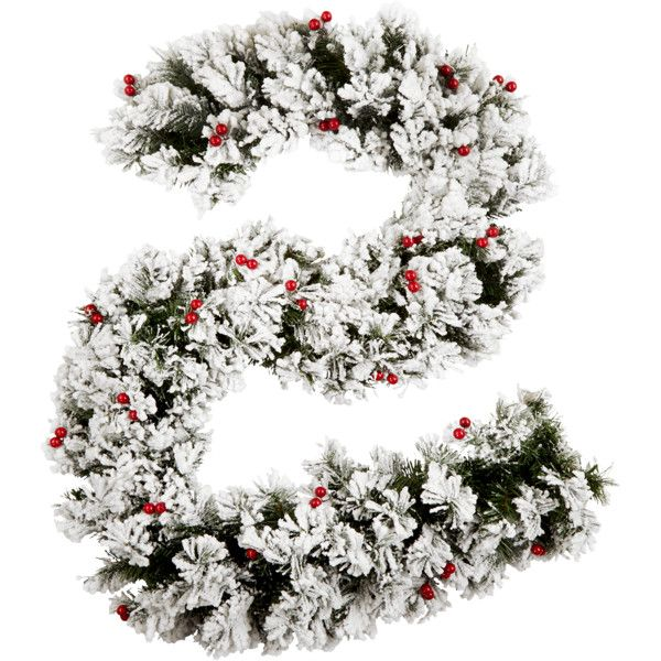 6Ft&Nbsp;Bavarian Pine Garland With Snow And Berries (€38) ❤ liked on Polyvore featuring home, home decor, holiday decorations, white home decor and european home decor