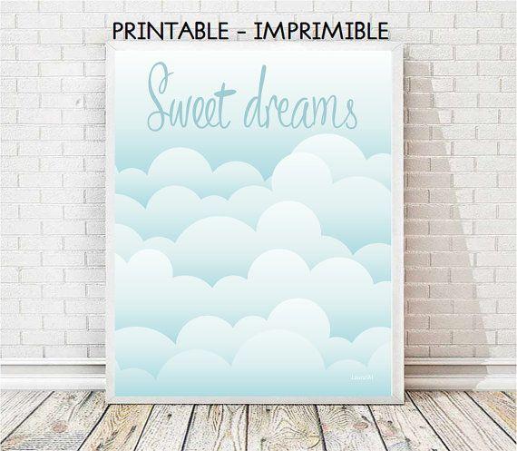 laminas nubes, dulces sueños, laminas infantiles, laminas bebe, decoracion bebe, cuadro nubes, laminas imprimibles, nube imprimible
