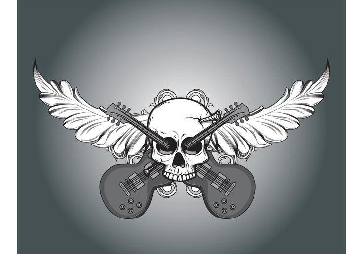 Free vector Vector skull, foliage and guitars #9391