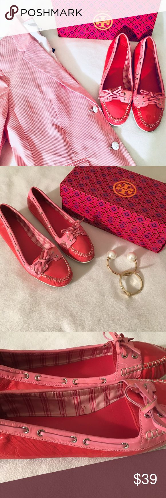 Coach Candy Pink Patent Leather Boat Shoes Loafers Super cute Coach Candy Pink Patent Leather Boat Shoes Loafers In very good condition Coach Shoes Flats & Loafers