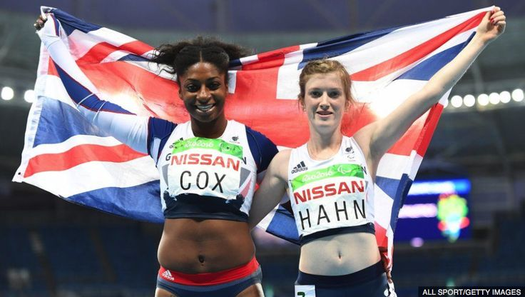 Kadeena Cox wins bronze running the 100m and Sophie Hahn in same race strikes gold. Pin created and uploaded by Rhoda Monihan 2016.