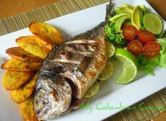 Mojarra Frita, typical dish from the Atlantic cost of Colombia. When you are in the beach you can choose a fresh fish and they cook it and bring it to you.