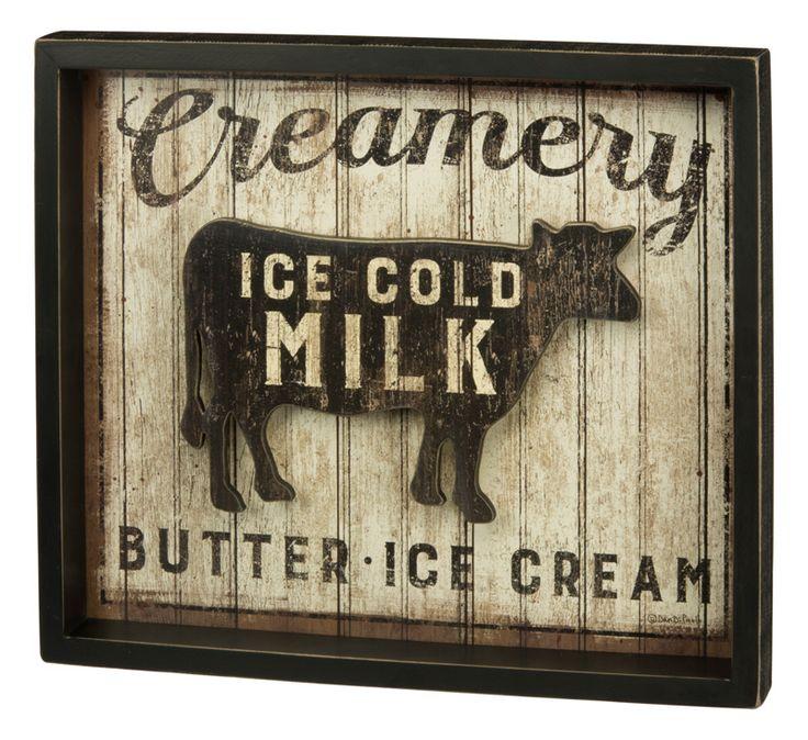 vintage style milk sign
