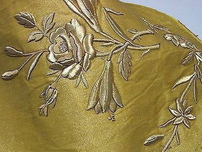 Antique French Gold Metallic Embroidery Roses Raised Goldwork Projects Pillows