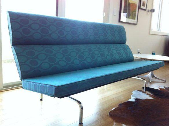 Herman Miller Eames Sofa   Angela Adams Blue Kenga