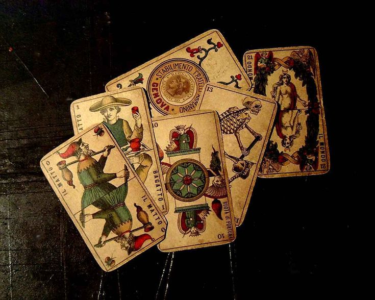 Cards of the Piedmont Tarot. The Fool, Magician, Wheel of Fortune, Ace of Coins, Death, and World.