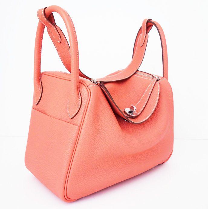 Hermes Lindy 30 Crevette Pink Shoulder Bag Hobo New Authentic
