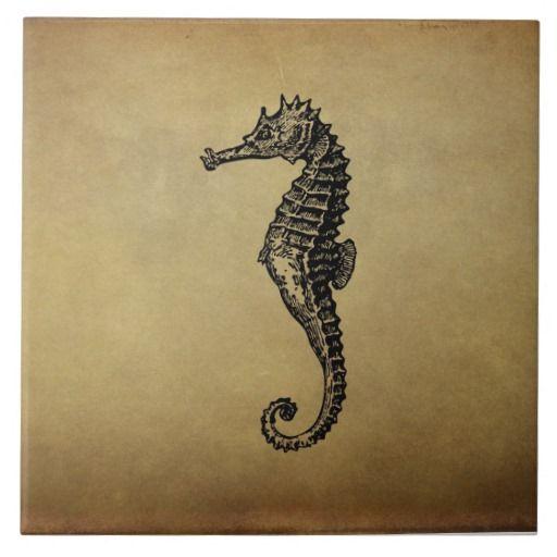 SOLD! Vintage Seahorse Illustration Ceramic Tile by FunNaturePhotography on Zazzle. #seahorse #vintage #tile http://www.zazzle.com/funnaturephotography*