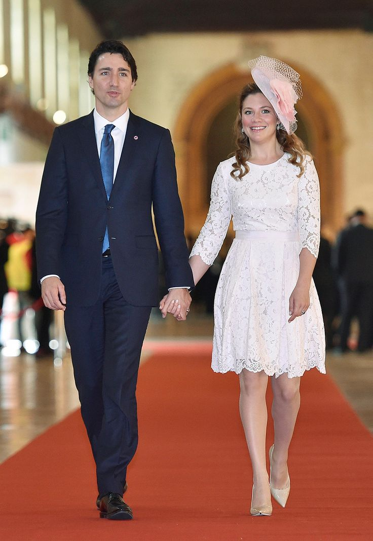 A vision in lace for the Commonwealth—Trudeau wore something a little more traditional as she arrived for the opening ceremony of the Commonwealth Heads of Government meeting in November of 2015, wearing a pale pink lace dress with a matching fascinator.