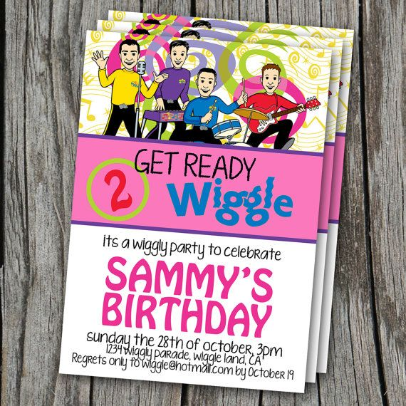 Birthday Invitation WIGGLES girl/pink Modern by EmbellisheDesigns, $10.00