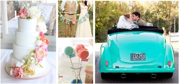 turquoise and coral wedding, now that's a fun color car!