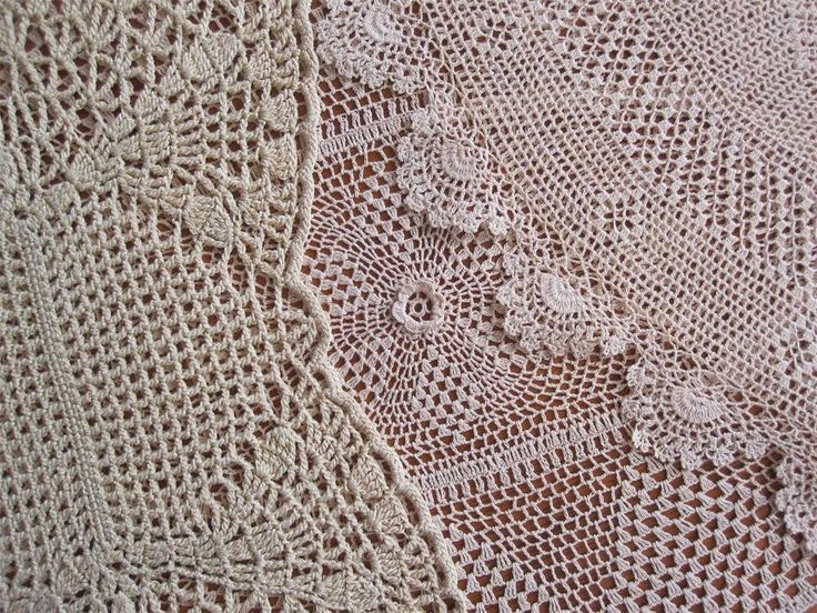 Three Vintage Hand Crochet DOILIES in Shades of Taupe 46cms x 29cms 43cms x 28cms 42cms x 23cms In very good condition as pictures display *Washed  *Starched *Ironed so comes to you ready to use.