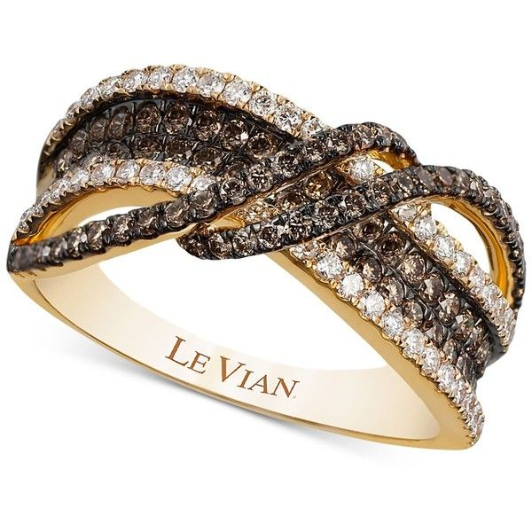 Le Vian Chocolatier Gladiator Weave White and Chocolate Diamond Ring... (8,415 CAD) ❤ liked on Polyvore featuring jewelry, rings, yellow gold, gold druzy ring, braided ring, 14k gold ring, white druzy ring and chocolate diamond rings