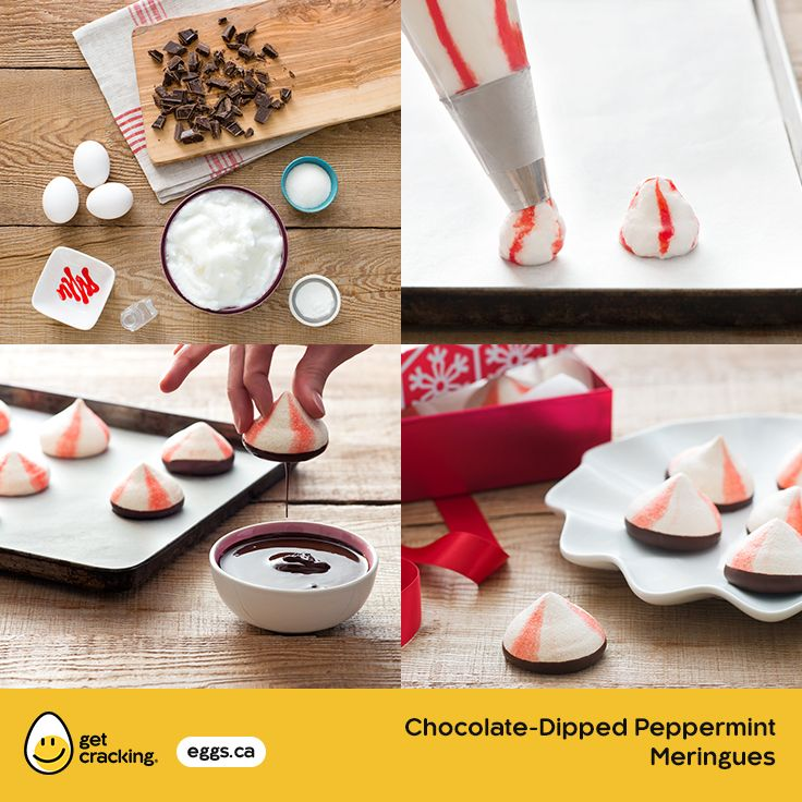 Chocolate Dipped Peppermint Meringues | Eggs.ca | #GetCracking #Eggs #Meringue #Peppermint