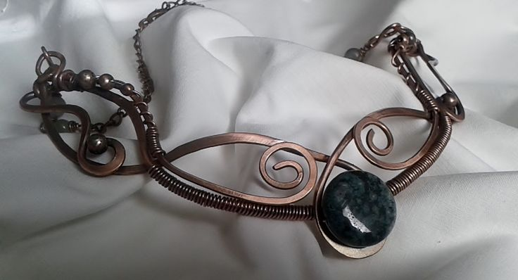 https://www.etsy.com/people/DMJujic?ref=hdr_user_menu Handmade copper wire necklace with beautiful green Tree Agate stone