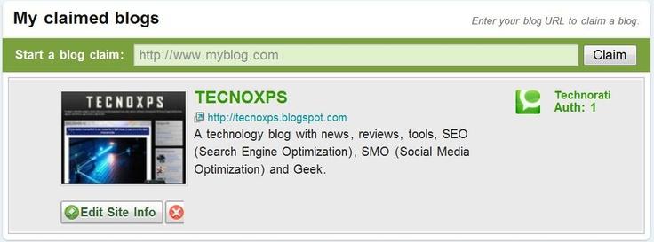 Registro aceptado de TECNOXPS en Technorati