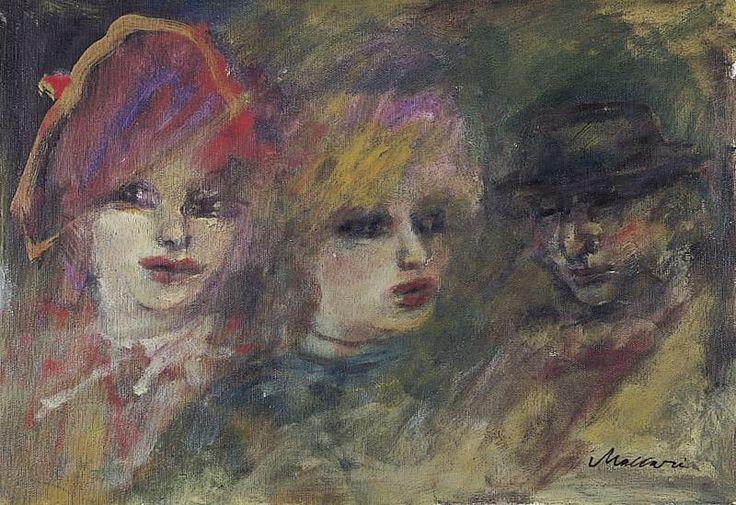 Mino Maccari (Italian, 1898-1989), Sorelline [Sisters], n/d. Oil on canvas, 35.00 x 50.00 cm